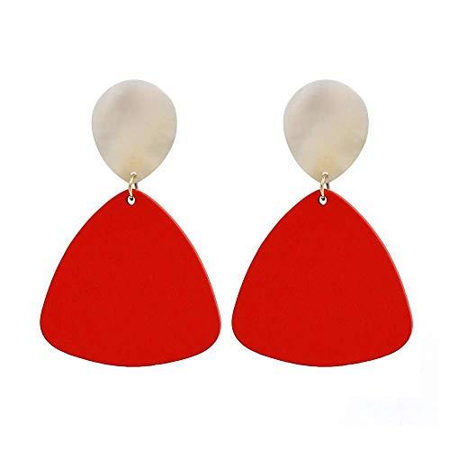 JY Novelty Jewelry-Women Earring Studs Earring Drop Earrings Ear Line,European and American Simple Shell Geometric Wood Earrings Red, Irregular Irregular Earrings, Suitable for Party Ban