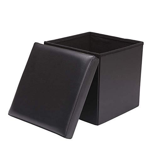 XBCDX Taburete de Banco otomano de Almacenamiento Taburete de Cuero, Cubo Plegable Caja de Juguetes Organizador Caja Puf Cofre Asiento Individual-Negro 30x30x30cm (12x12x12)