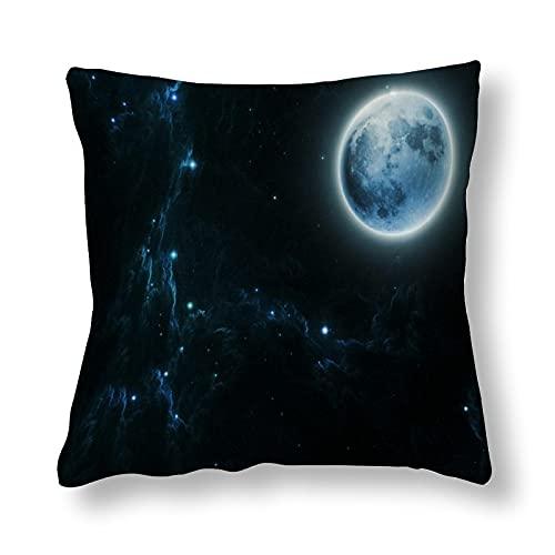 Beautiful Dream Moon andStars - Funda de almohada de poliéster impresa en ambos lados, 1 paquete de 60 cm x 60 cm