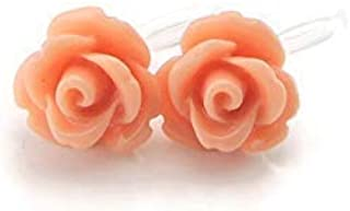 Invisible Clip On 9mm Rose Earrings for Non-pierced Ears Metal Free, Soft Coral