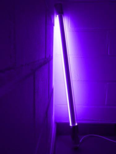 Led Leuchstab mit Blendschutz bruchsicher IP20 63cm violett mit Anschlußkabel und Schalter in weiß, 10Watt Party Deko Schaufenster farbig bunt energiesparend