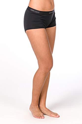 Super.natural Sous-vêtements Femme Moulants, Laine mérinos, W BASE BOYFRIEND HIPSTER 175, Taille: M, Couleur: Noir