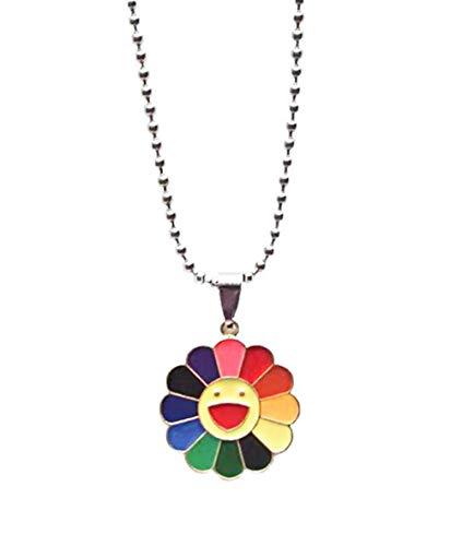 LIYANGHUIZI Moda Simple clásico Murakami Sun Flower Girasol pétalos de Colores se Puede Girar Hip Hop Colgante Collar