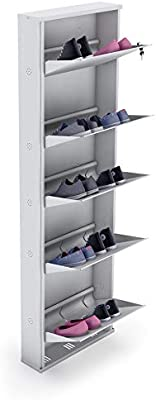 """Crust Five Shelves 26"""" Inches Wide Shoe Rack (White)"""