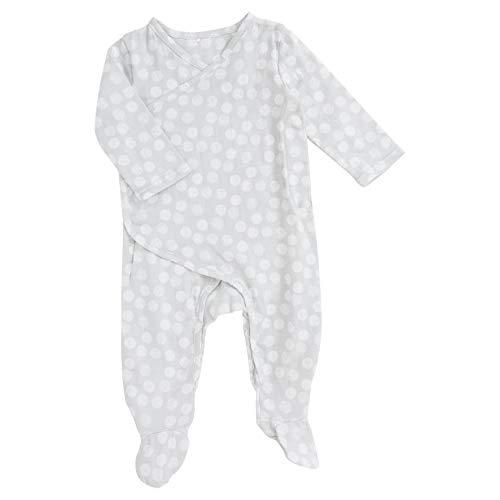 aden + anais Baby Boy or Girl Kimono One Piece – Onesie Footie Pajamas for Babies – Newborn & Infant Long Sleeve Union Suit – Super Soft Cotton Muslin Footie PJ's; Moon Dot 0-3M