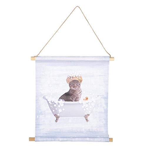 Clayre & Eef 6WK0023 Wandkarte Katze Badewanne Ca. 34 x 35 x 2 cm