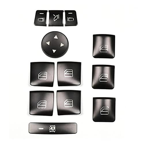 Item 12pcs Coche Puerta Reproductor de la Ventana Interruptor Interruptor de la Cubierta Pegatina Pegatina Ajuste para Mercedes Benz GLK ML GL A B C E G Class W204 x166 (Color Name : Black)
