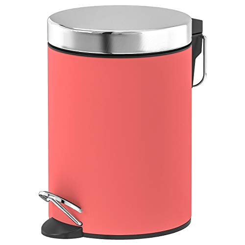 Abfalleimer, helles Rot, kein Verklammern, der Deckel mit Absenkautomatik, Produktgröße Höhe: 24 cm, Durchmesser: 17 cm, Inhalt: 3 l, Material: Edelstahl, Pulverbeschichtung, PU-Lack klar