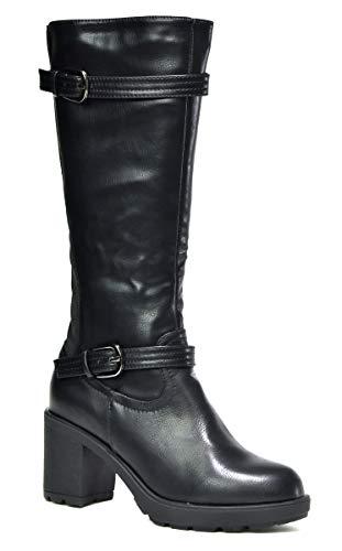 Ladies New Desert Ankle Boot- Mid Knee Pull On Zip Chunky Heel Work Boot...