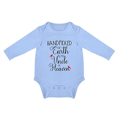 DKISEE Handpicked for Earth by My Uncle in Heaven Baby Bodysuit Long Sleeve Blue Baby Onesies 0-3 Months, o66skksku8fe