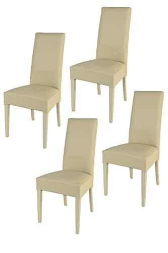 Tommychairs - Set 4 sillas Luisa para Cocina, Comedor, Bar y Restaurante, solida Estructura en Madera de Haya y Asiento tapizado en Polipiel Arena