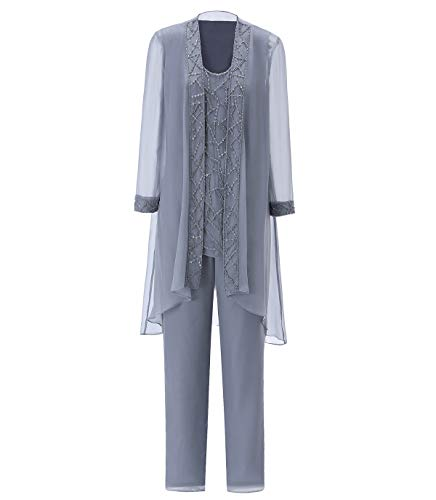 Pretygirl Damen 3 Stück Elegante Pailletten Chiffon Kleid für die Brautmutter Hose mit Jacke Outfit für Hochzeit(US 16, Grau Blau)