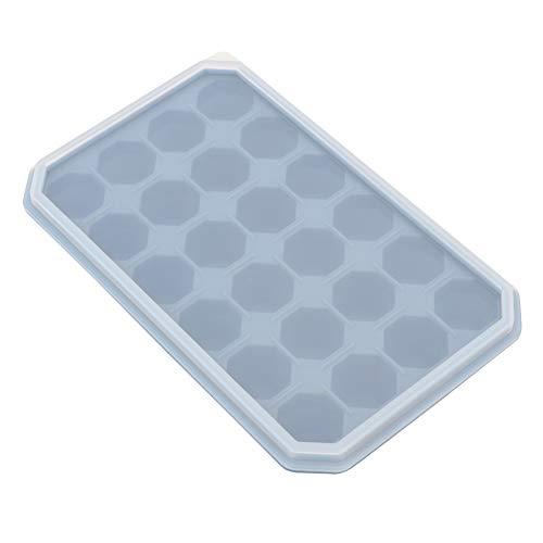 Moule à glace, Delaman 24 grilles bricolage Silicone bac à glace congeler pudding moule chocolat moule cuisson avec couvercle accessoires de cuisine(Bleu)