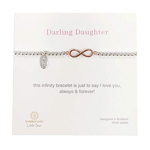 SYMBOLOGY Kids Silver Sentiment Darling Daughter Bracelet with Rose Gold Infinity Charm. (Boxed) 1306