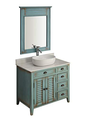36' Benton Collection Farmhouse Abbeville Rustic Vessel Sink Bath Vanity with Mirror 78886BU-MIR