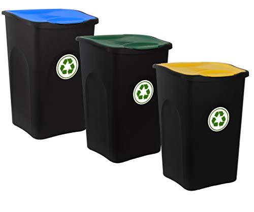 BigDean 3er Set Mülleimer 50L groß - schwarz mit farbigem Klappdeckel - 3-Fach Mülltrennsystem für Mülltrennung & Recycling - Mülltonne Müllsortierer Abfalleimer