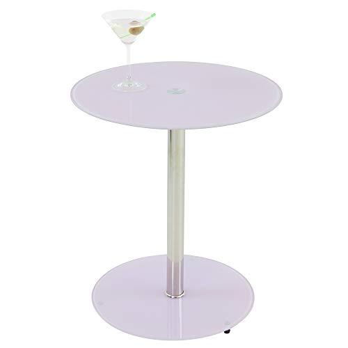ALBATROS Glastisch Sunset, Rosa/Rosé, Beistelltisch rund, Höhe 50cm, Cocktailtisch/Couchtisch
