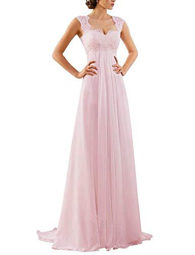 Erosebridal Spitze Chiffon Strand Ballkleider Formal Abendkleider Rosa DE36