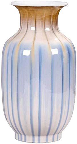 Gestreept oppervlak decoratieve vaas, handgemaakte keramische vaas Ronde Bloemstuk bloem Inrichting Grootte 18,5 * 18,5 * 32.5cm decor vazen (Size : 18.5 * 18.5 * 32.5CM)