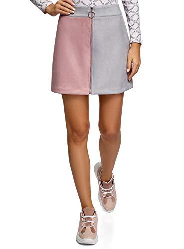 oodji Ultra Mujer Falda de Piel Sintética con Cremallera, Rosa, ES 42 / L