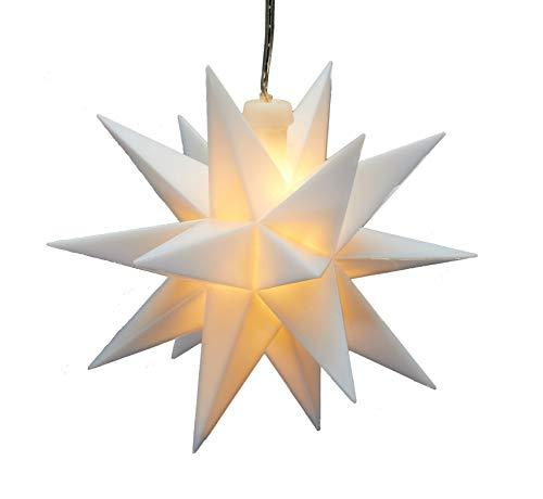 LED 3D Weihnachts Stern weiß zum hängen - 12 cm - Fenster Deko Leuchtstern mit Batterie und Timer
