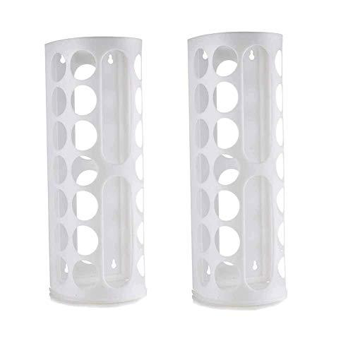 Kamenda 2er-Pack Tütenspender mit Wandhalterung, große Kapazität, Kunststoffbeutelhalter, mehrere große Löcher für einfachen Zugang, ideal zum Aufbewahren von Einkaufen, weiß