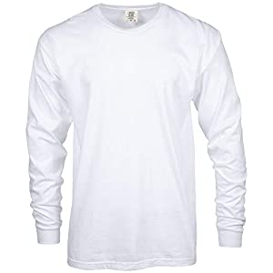 Comfort Colors Men Adult Long Sleeve Tee, Style 6014, White, Small