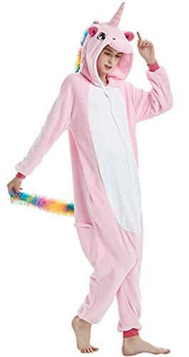 Silver Basic Unisex Licorne Pyjama Kiguruma Combinaison Vêtement de Nuit Cosplay Costume Déguisement Unicorn Grenouillère Adulte Enfant S,Licorne Rose Clair-3