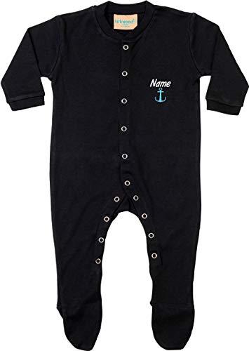Kleckerliese Baby Schlafanzug Strampler Sprüche Sleepsuit Langarm mit Füßen Motiv Name Wunschname Anker, Black, 0-6 Monate