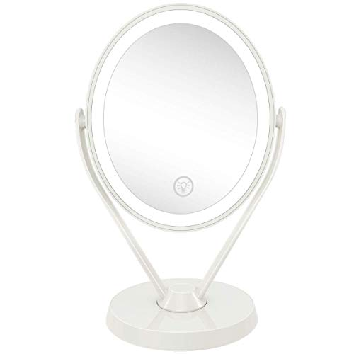 Aesfee Double-Sided 1x/7x Magnification LED Makeup Mirror with Lights, Lighted Vanity Magnified Mirror USB Chargeable, Touch Sensor Control 3 Light Settings Illuminated Countertop Mirrors - White
