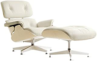 Mid Century Modern Classic White Ash Wood Plywood Lounge Chair & Ottoman With White Premium Top Grain Leather Eames Style Replica
