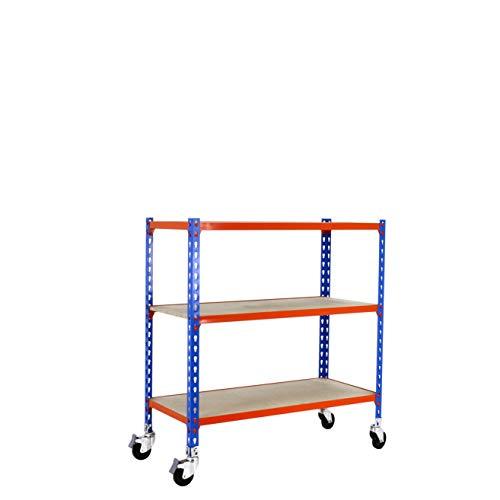 Estantería metálica sin tornillos con ruedas Maderclick de 3 estantes Azul/Naranja/Madera Simonrack 900x1100x300 mms - Estantería con madera - Estantería trastero - 90 Kgs de capacidad por estante
