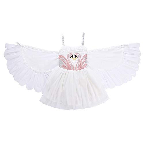 NNDOLL Kostüm Karneval d'Halloween Kleid Schwan-Engelsflügel von Flamingos Prinzessin 100