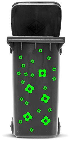 Domus House Signs Mülltonnen Aufkleber Set: Blüten - 23 Blütenaufkleber in Zwei Größen (4,5cm und 2,5cm) zum Dekorieren Ihrer Mülltonne oder Anderen glatten Oberfläche, Schriftfarbe:hellgrün