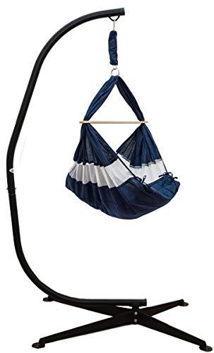 DuneDesign Komplettset Babywiege mit Gestell - Federwiege bis 15kg - Ständer 205cm Blau