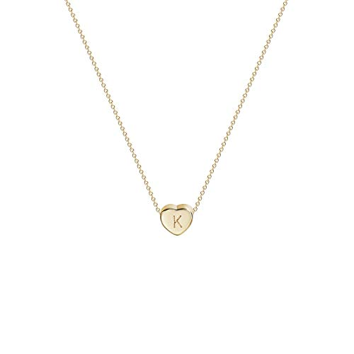 Tiny Gold Initial Heart Necklace-14K Gold Filled Handmade Dainty Personalized Letter Heart Choker Necklace Gift for Women Kids Child Necklace Jewelry Letter K
