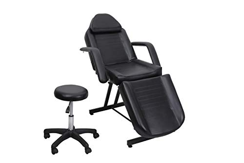 Salon Style Black PU Material SPA Bed Facial Tattoo Chair Basic Facial Bed with Free Stool Facial chair Massage Table