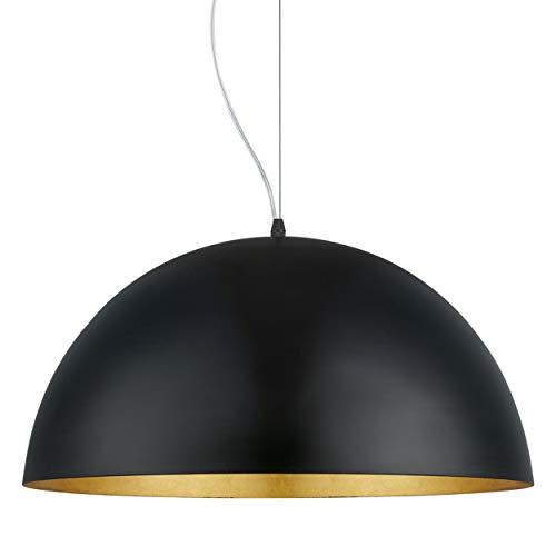 Eglo Lustre Gaetano 1, 1 Suspension à Flamme, Lampe Suspendue en Acier, Couleur : Noir, or, Douille : E27, Ø : 53 Cm