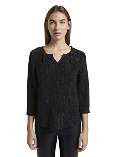TOM TAILOR Damen T-Shirts/Tops Glitzer-Shirt in Crincle-Optik Deep Black,L,14482,2999
