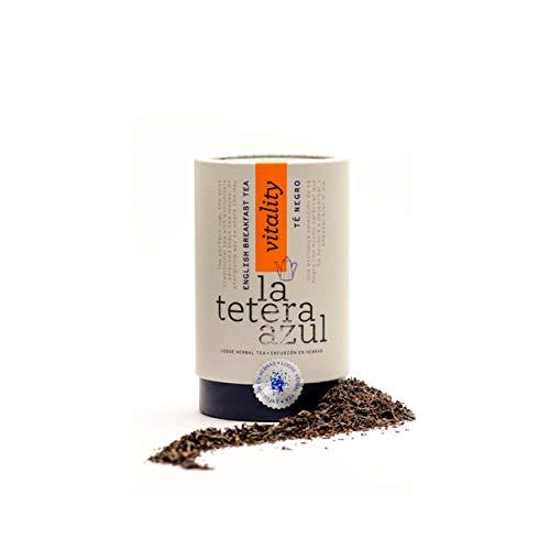 LA TETERA AZUL Té Negro English Breakfast Premium. Infusión Estimulante. Bote A Granel De 115 Gramos Para 46 Infusiones