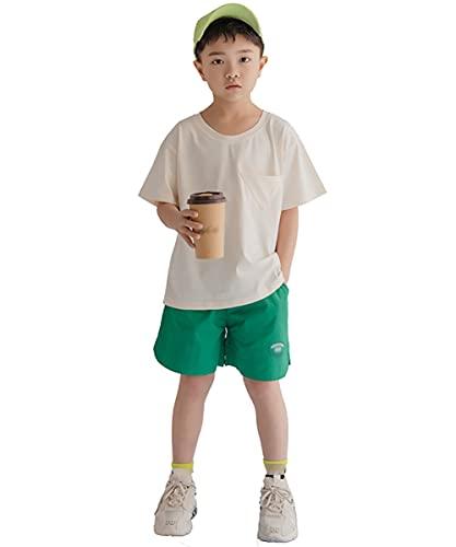 ZRFNFMA Boys'Girls Casual Deportes Algodón Camiseta Media Manga Corta Pantalones Cortos Dos Piezas En La Ropa De Los Niños Grandes Verde-150cm