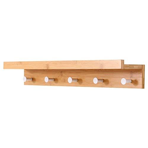 Estante de pared en madera de bambú con 5 ganchos para perchas 61x12xH10cm