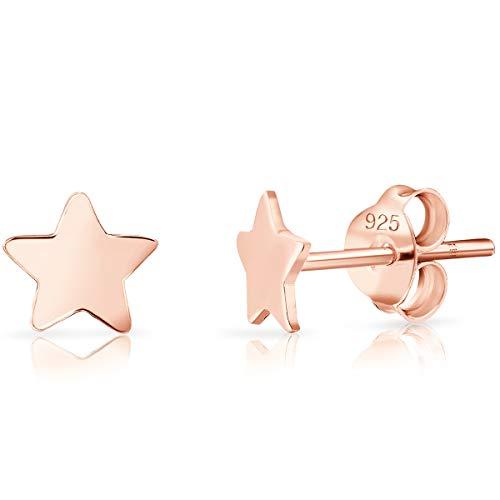 DTP Silver - Orecchini da Donna a forma di Stella 6 mm - Chiusura a perno - Argento 925 Placcato in Oro Rosa 18K