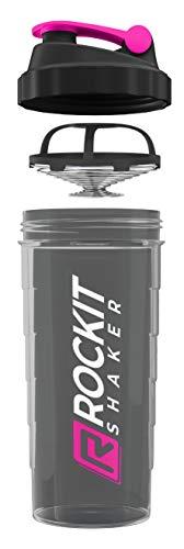 RockitShaker 1000ml Protein Shaker | garantiert auslaufsicher | BPA frei | patentiertes Mischsystem | für deinen fitness Eiweißshake und Proteinshake Pink