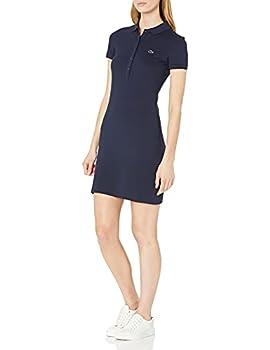 Lacoste Womens Stretch Cotton Short Sleeve Mini Piqué Polo Dress Dress Navy Blue 2