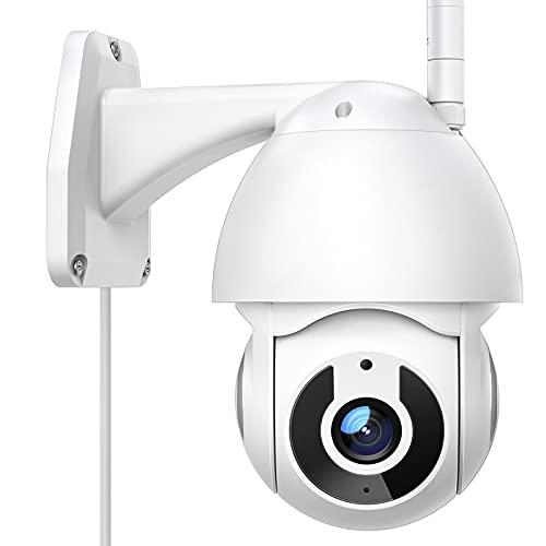 Telecamera Wi-Fi Esterno, FHD 1080P, con Vista Panoramica/Inclinazione a 360 Gradi, Visione Notturna, IP66 Impermeabile, Rilevamento del Movimento, Compatibile con Alexa, Compatibile con iOS/Android