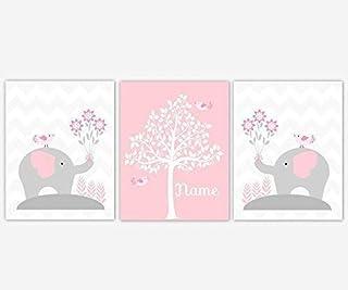 Baby Girl Nursery Wall Art Pink Gray Elephants Personalized Name Silhouette Tree Print Baby Nursery Decor SET OF 3 UNFRAMED PRINTS