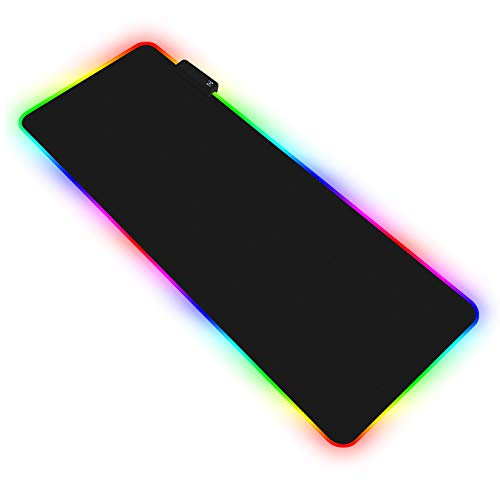 RGB Gaming Large Mouse Pad, 31.5X 11.8in Led Extended Mouse Mat – Non Slip Rubber Base Computer Keyboard Pad