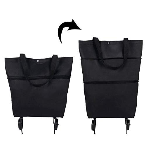 woyada Carrito de compras plegable 2 en 1, bolsa de compras plegable con cremallera de dos etapas con ruedas para ir de compras, viajes, vacaciones, camping