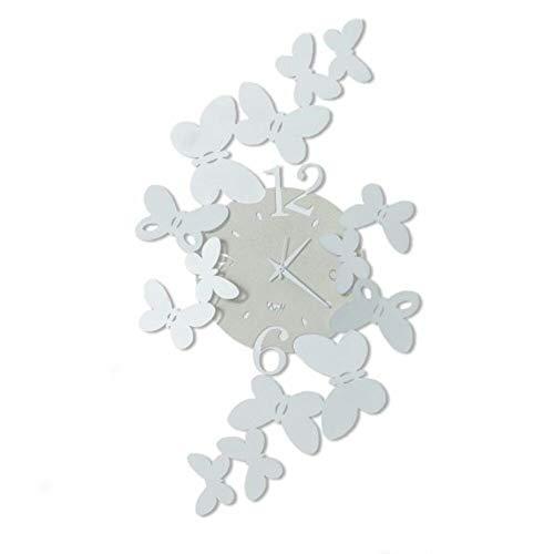 Arti & Mestieri Papillon - Orologio da Parete Grande di Design 100% Made in Italy - in Ferro, 32 x 56 cm - Bianco Neve